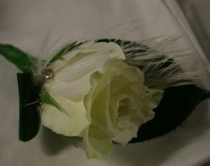 Buttonhole - Rose with Feather
